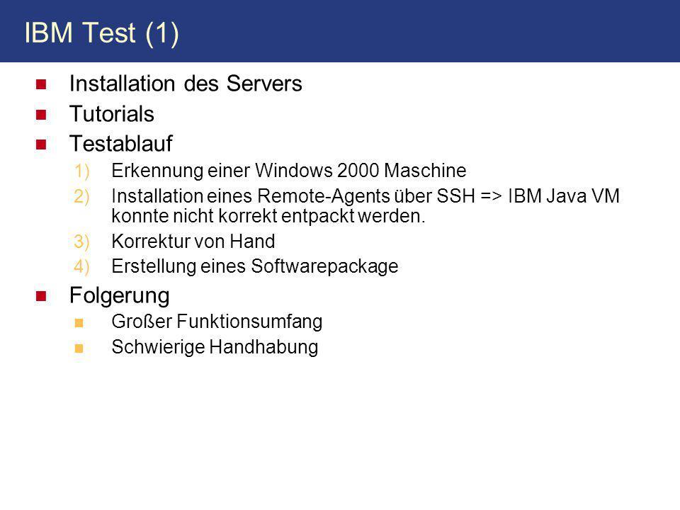 IBM Test (1) Installation des Servers Tutorials Testablauf Folgerung