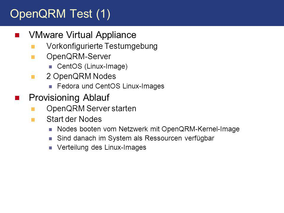 OpenQRM Test (1) VMware Virtual Appliance Provisioning Ablauf
