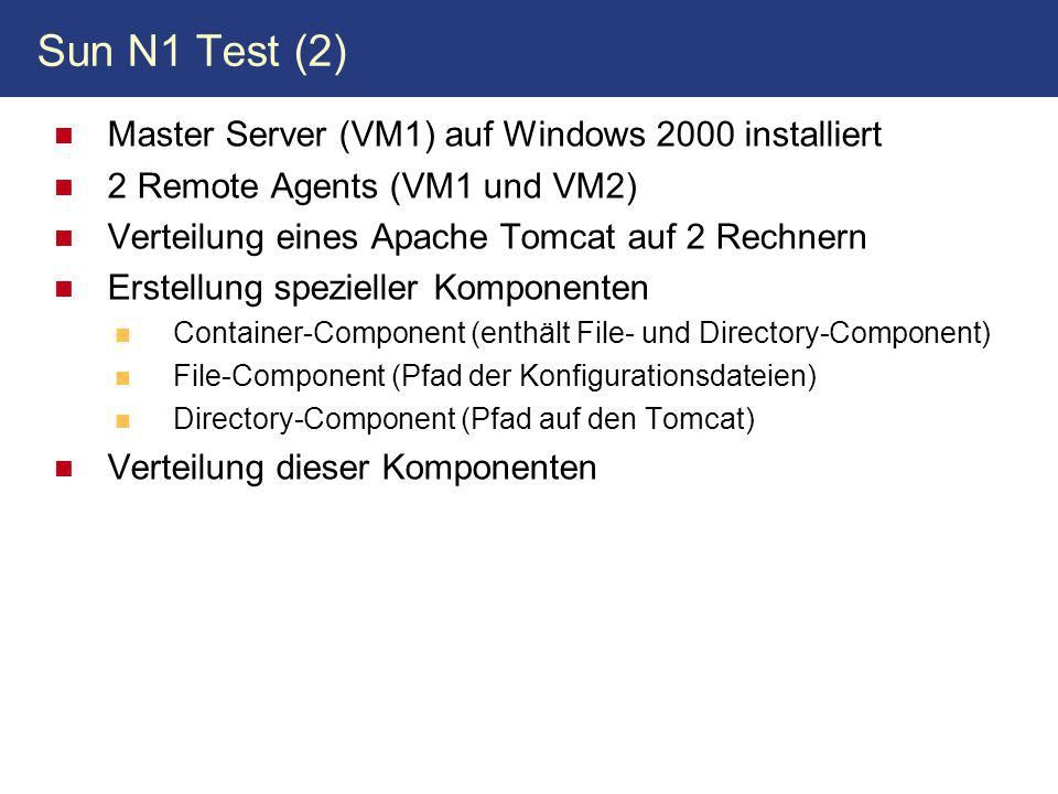 Sun N1 Test (2) Master Server (VM1) auf Windows 2000 installiert
