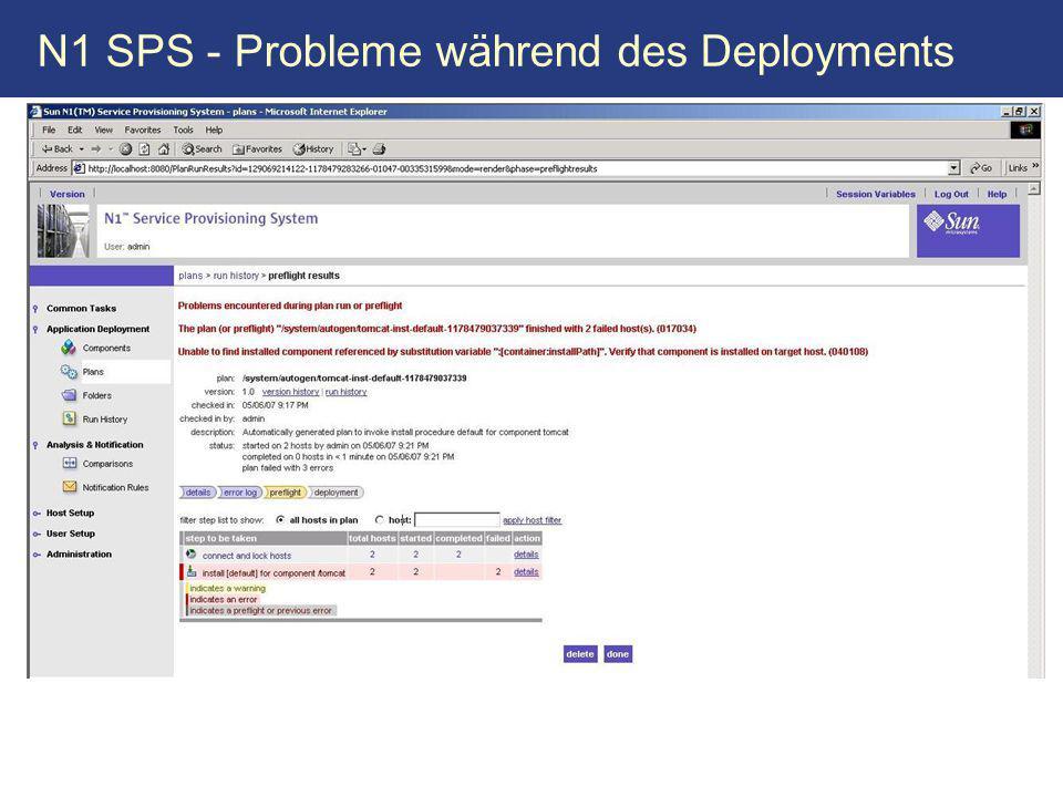 N1 SPS - Probleme während des Deployments