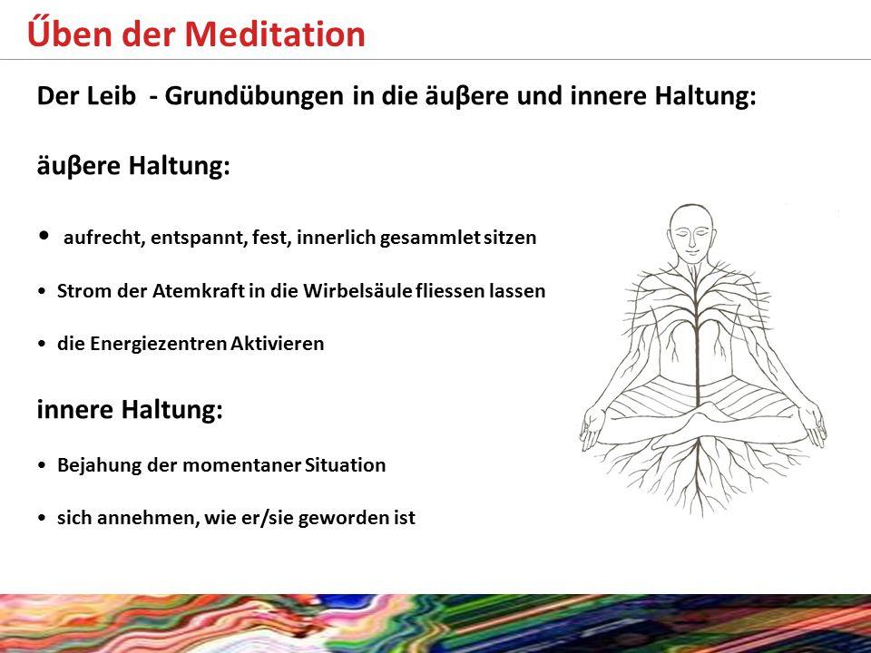 Űben der Meditation Der Leib - Grundübungen in die äuβere und innere Haltung: äuβere Haltung: