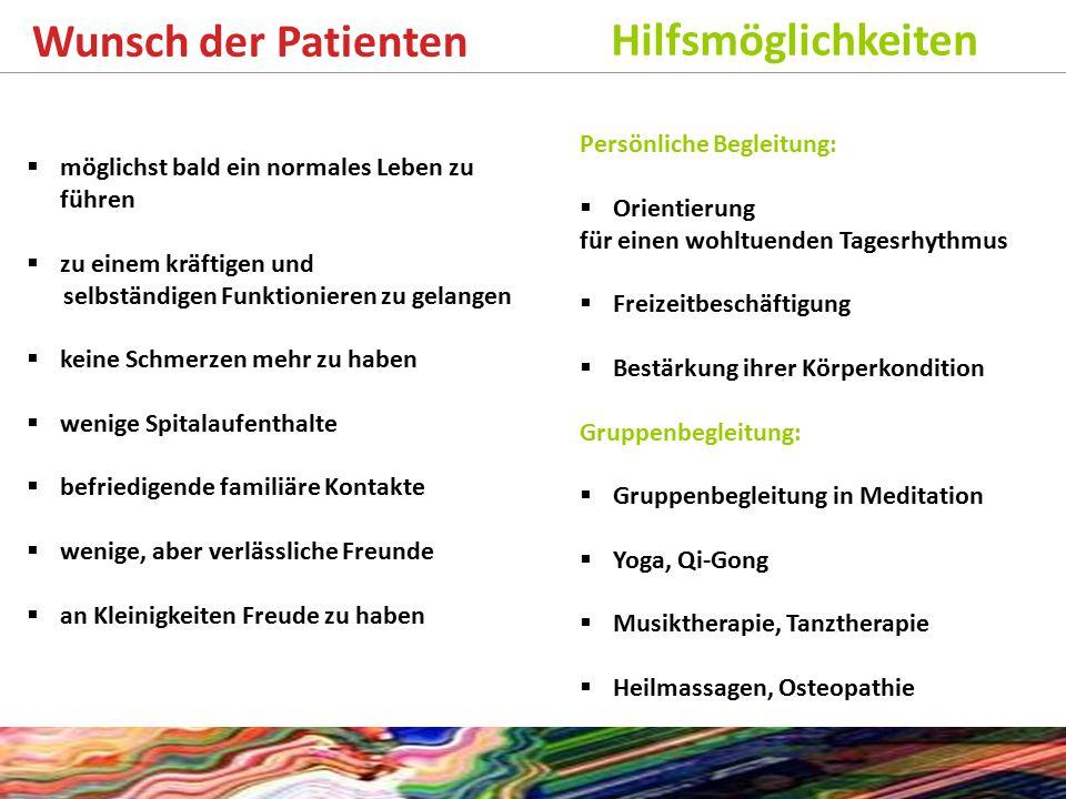 Wunsch der Patienten Hilfsmöglichkeiten Persönliche Begleitung: