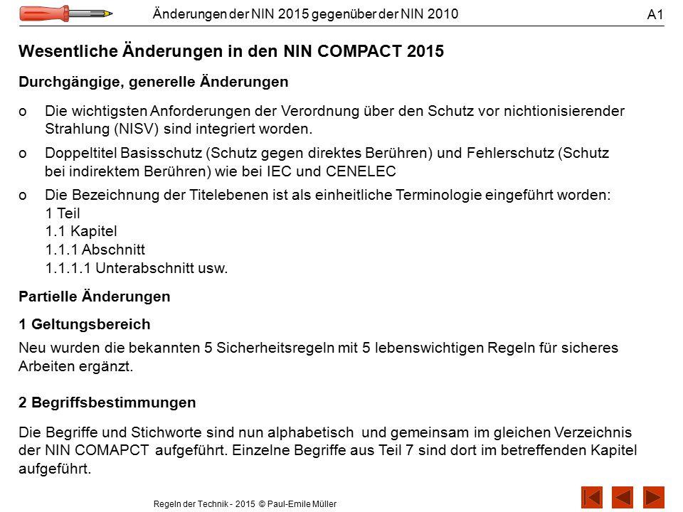 Wesentliche Änderungen in den NIN COMPACT 2015