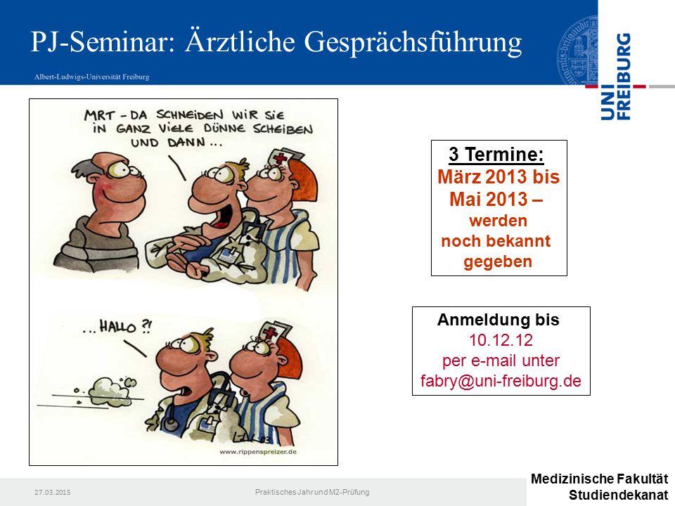 PJ-Seminar: Ärztliche Gesprächsführung
