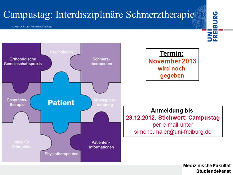 Campustag: Interdisziplinäre Schmerztherapie