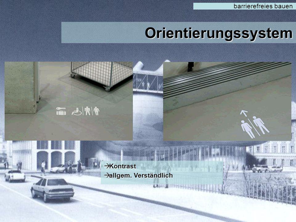 barrierefreies bauen Orientierungssystem Kontrast allgem. Verständlich