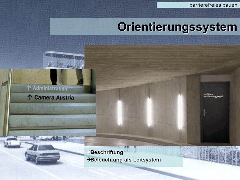 Orientierungssystem barrierefreies bauen Beschriftung