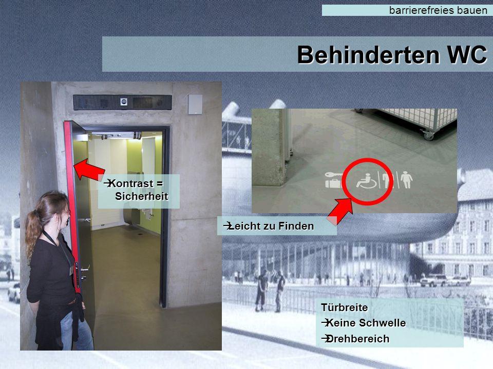 Behinderten WC barrierefreies bauen Kontrast = Sicherheit
