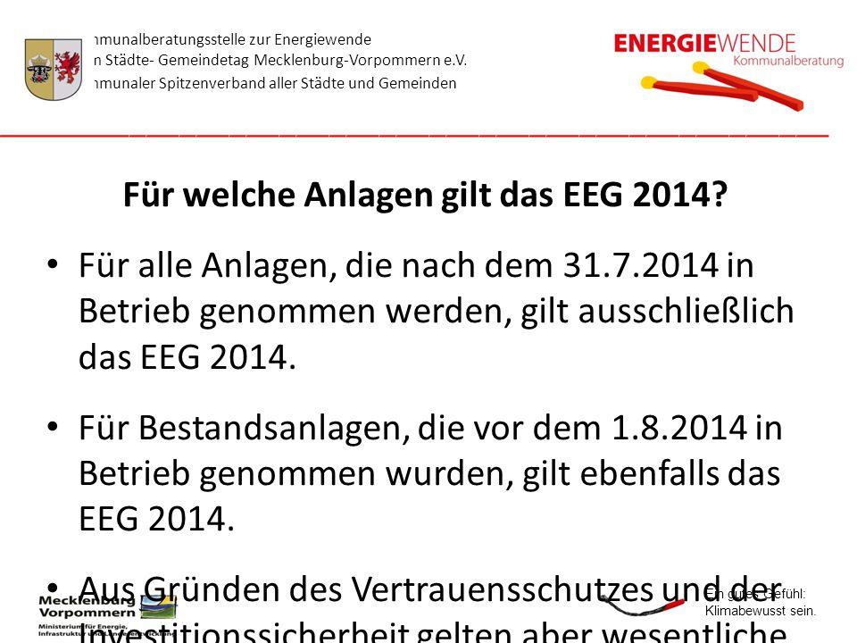 Für welche Anlagen gilt das EEG 2014