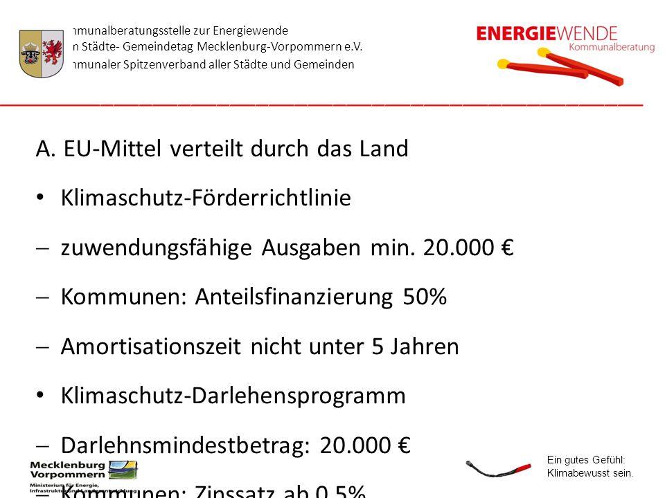 A. EU-Mittel verteilt durch das Land Klimaschutz-Förderrichtlinie