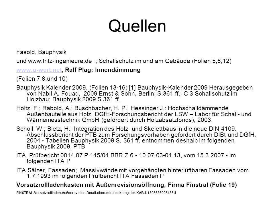 Quellen Fasold, Bauphysik