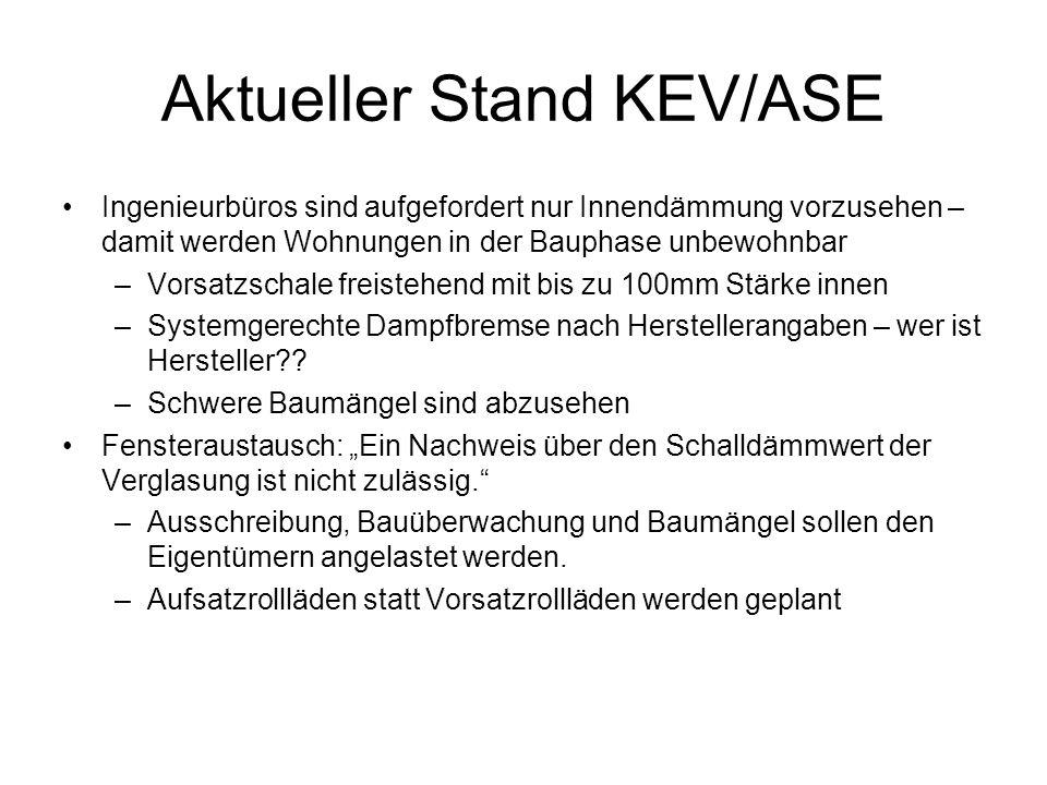 Aktueller Stand KEV/ASE