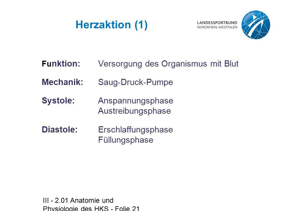 Herzaktion (1) Mechanik: Saug-Druck-Pumpe