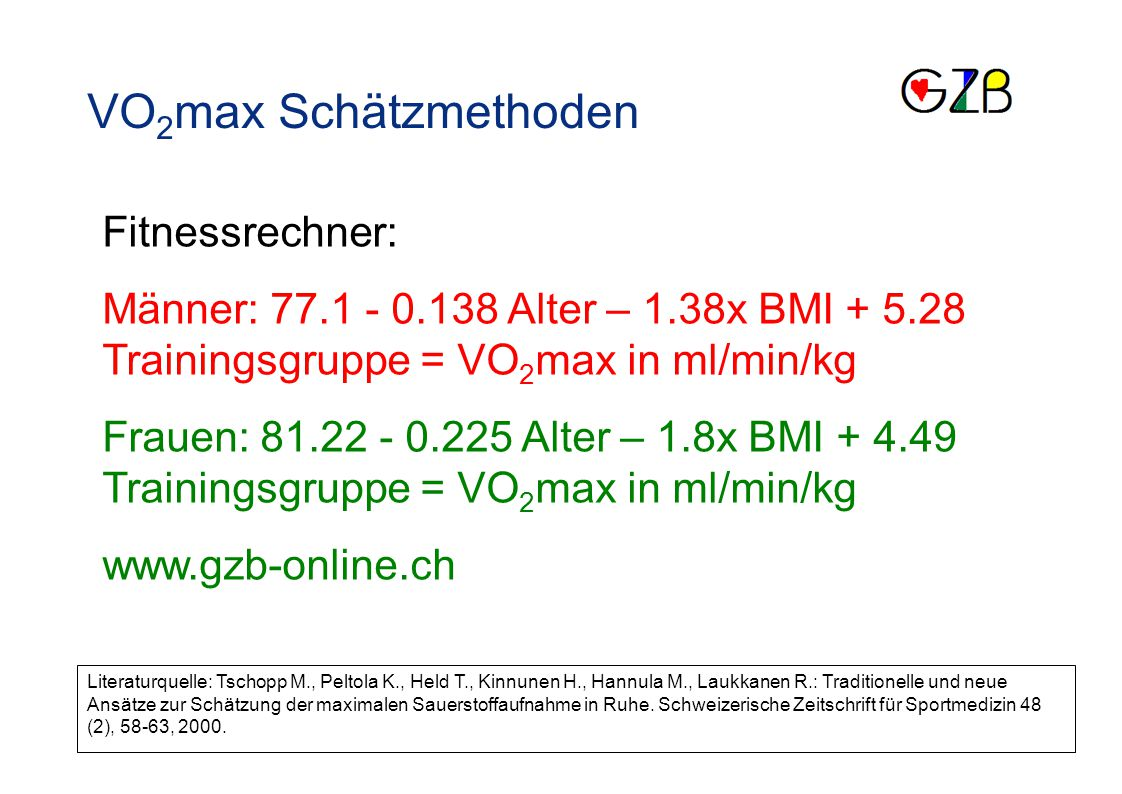 VO2max Schätzmethoden Fitnessrechner: