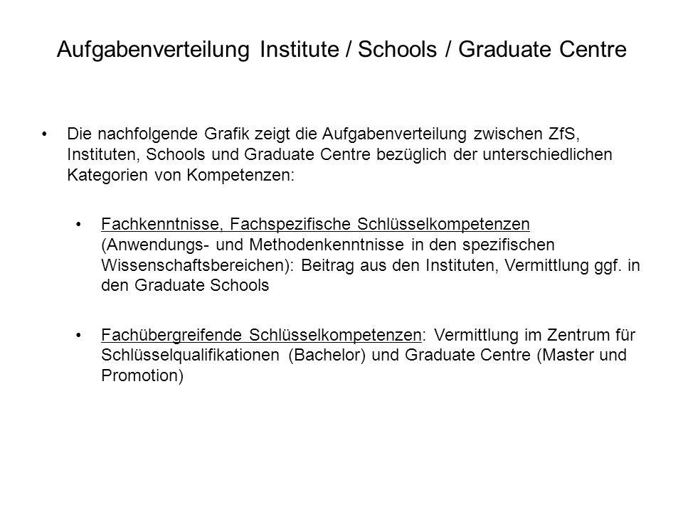 Aufgabenverteilung Institute / Schools / Graduate Centre