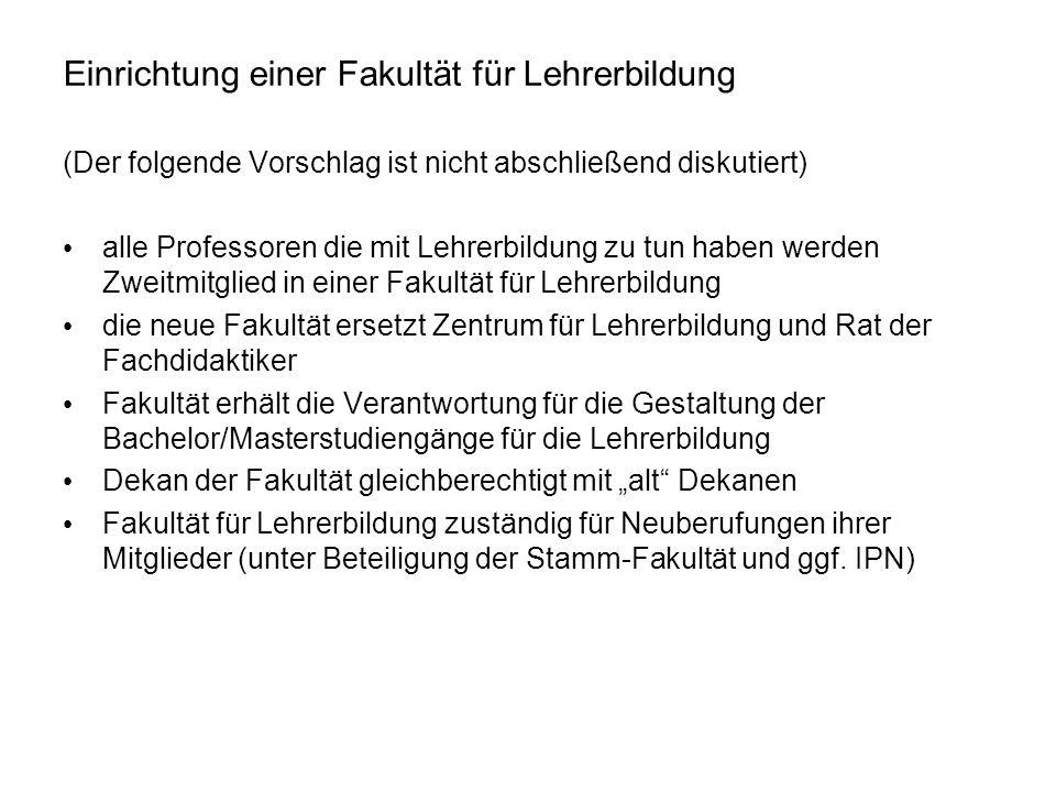 Einrichtung einer Fakultät für Lehrerbildung