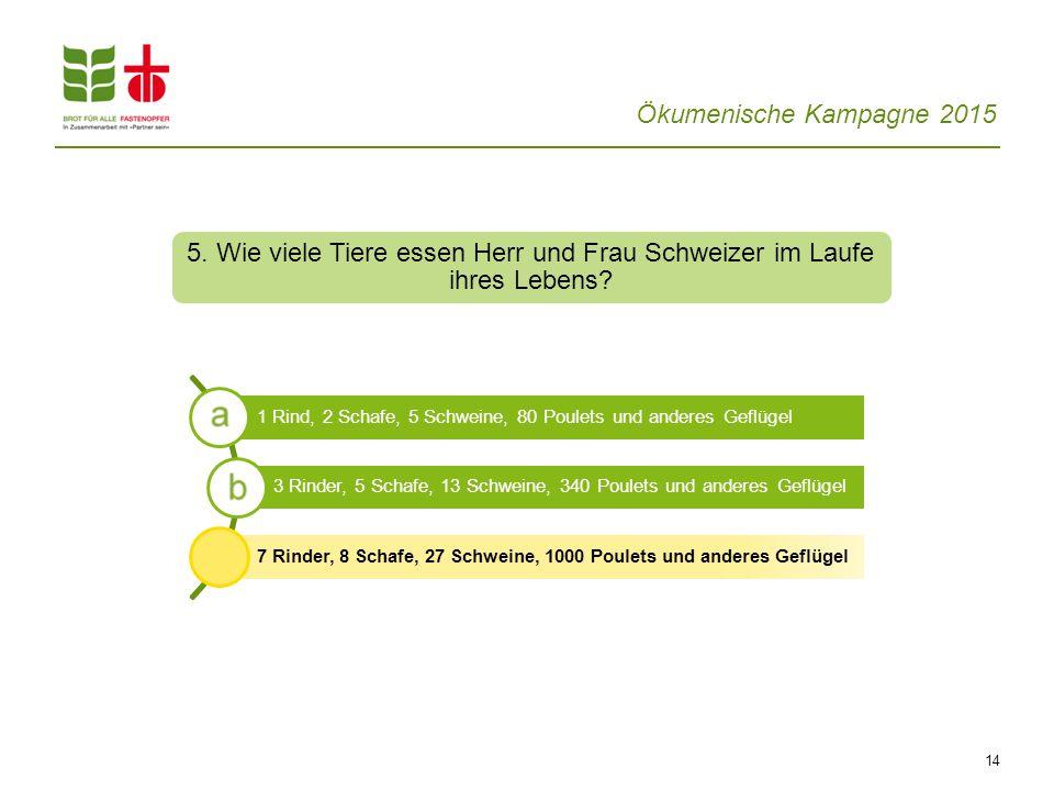 5. Wie viele Tiere essen Herr und Frau Schweizer im Laufe ihres Lebens