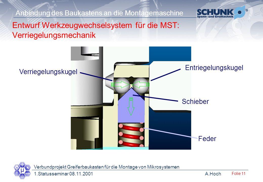 Entwurf Werkzeugwechselsystem für die MST: Verriegelungsmechanik
