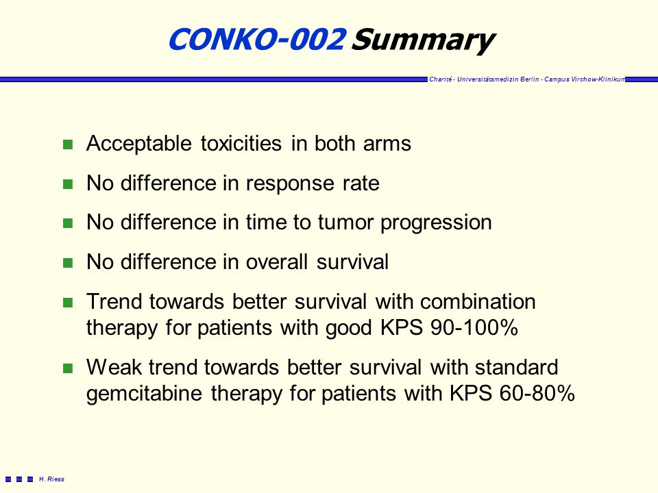 CONKO-002 Summary Acceptable toxicities in both arms
