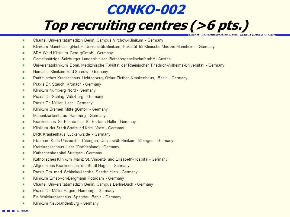 CONKO-002 Top recruiting centres (>6 pts.)