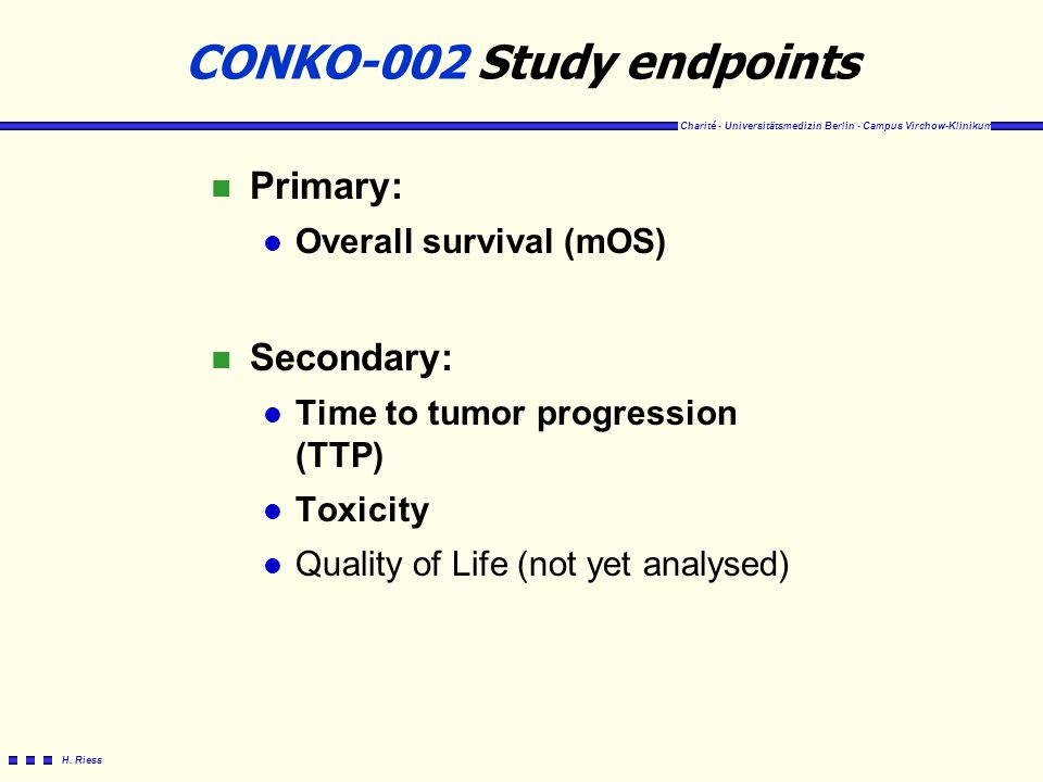 CONKO-002 Study endpoints
