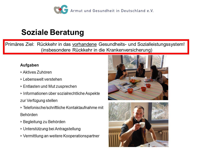 Soziale Beratung Primäres Ziel: Rückkehr in das vorhandene Gesundheits- und Sozialleistungssystem!