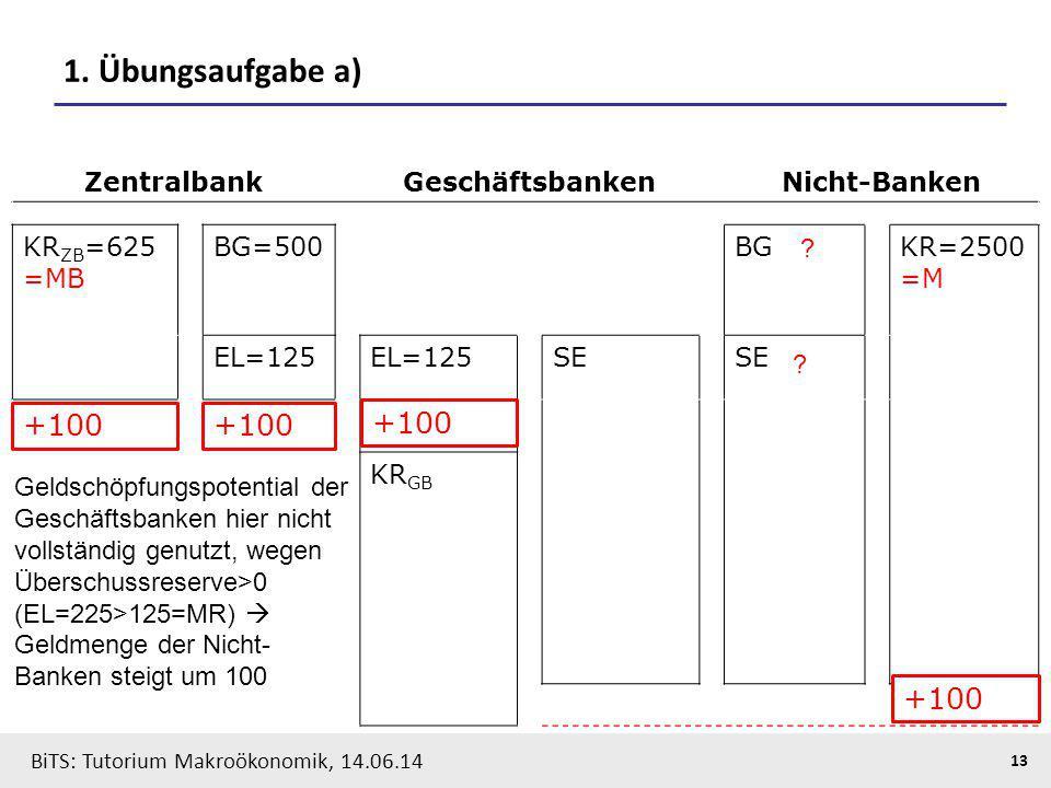 1. Übungsaufgabe a) +100 +100 +100 +100 Zentralbank Geschäftsbanken