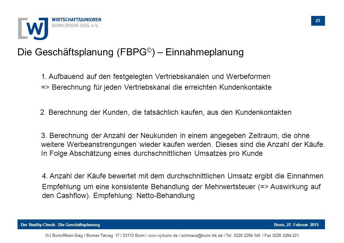 Die Geschäftsplanung (FBPG©) – Einnahmeplanung