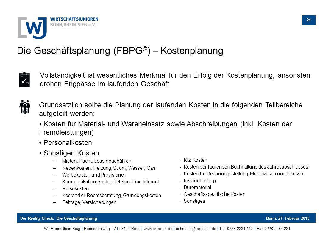 Die Geschäftsplanung (FBPG©) – Kostenplanung