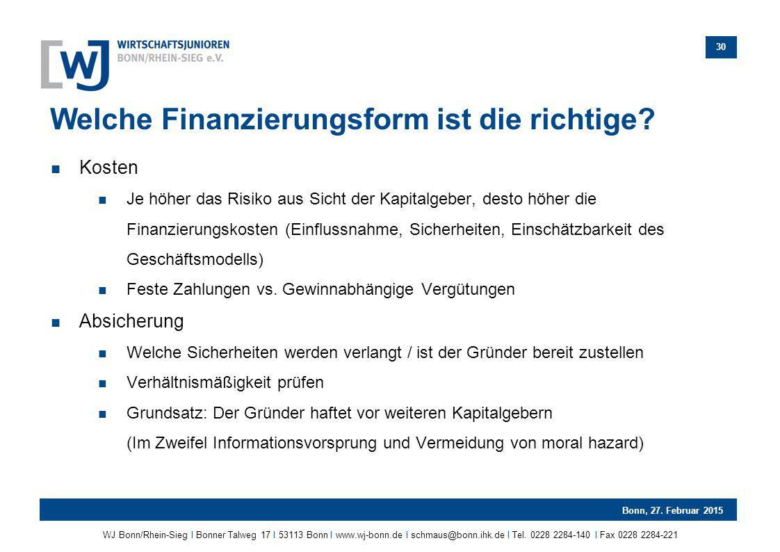 Welche Finanzierungsform ist die richtige