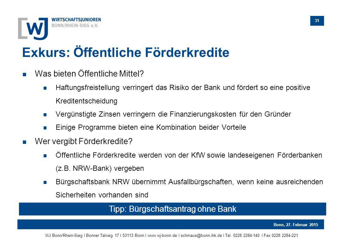 Tipp: Bürgschaftsantrag ohne Bank