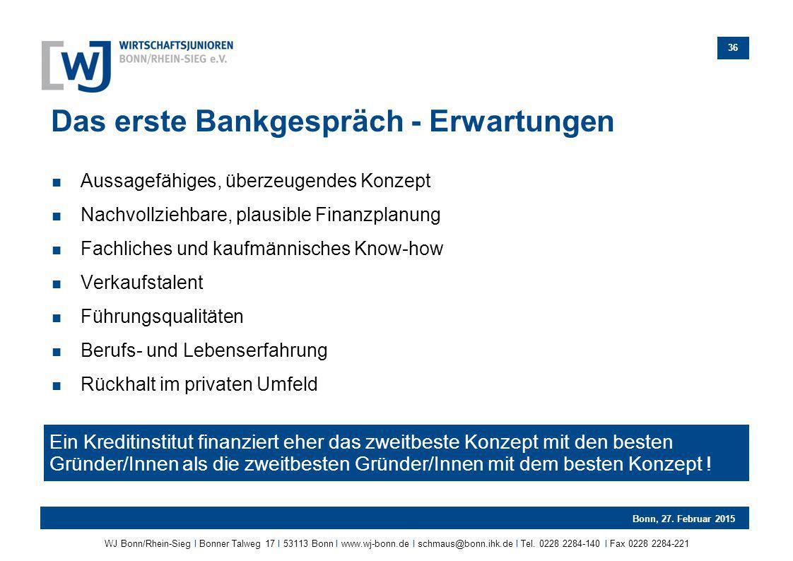 Das erste Bankgespräch - Erwartungen