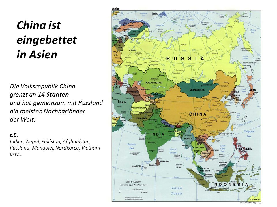 China ist eingebettet in Asien