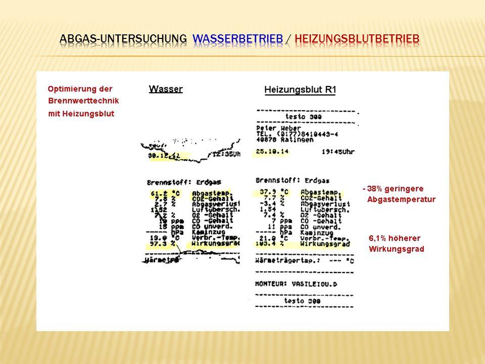 Abgas-untersuchung Wasserbetrieb / Heizungsblutbetrieb