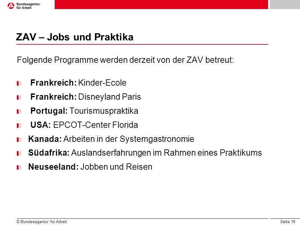 ZAV – Jobs und Praktika Hierzu die ZAV-Homepage aufrufen