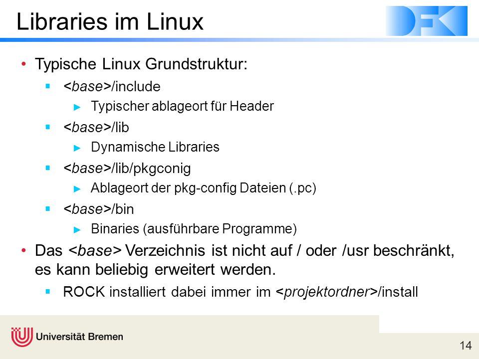 Libraries im Linux Typische Linux Grundstruktur: