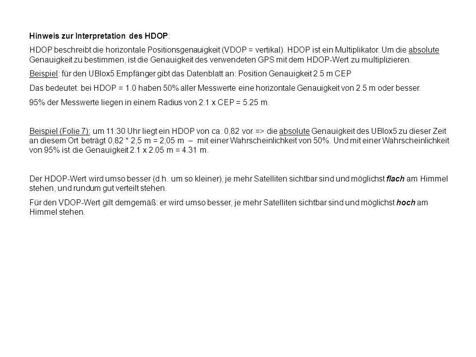Hinweis zur Interpretation des HDOP:
