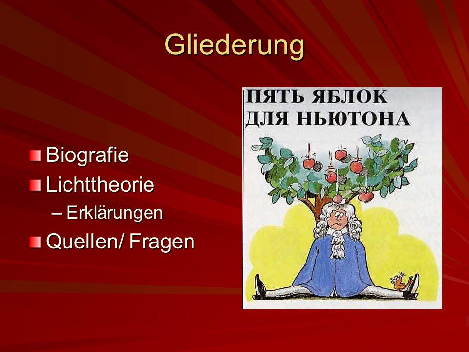 Gliederung Biografie Lichttheorie Erklärungen Quellen/ Fragen