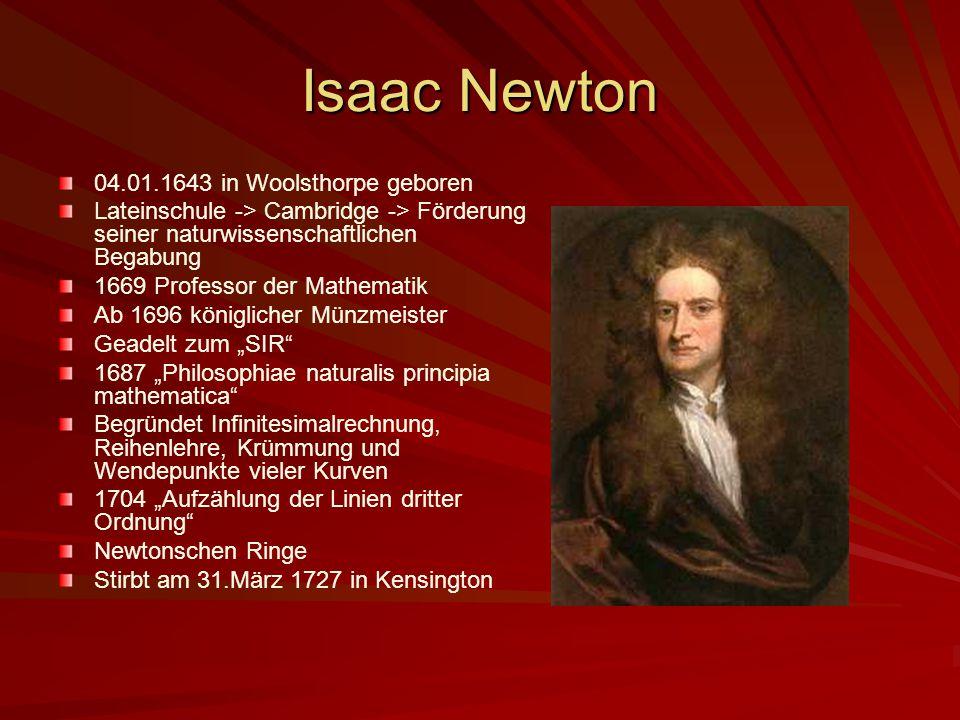 Isaac Newton 04.01.1643 in Woolsthorpe geboren