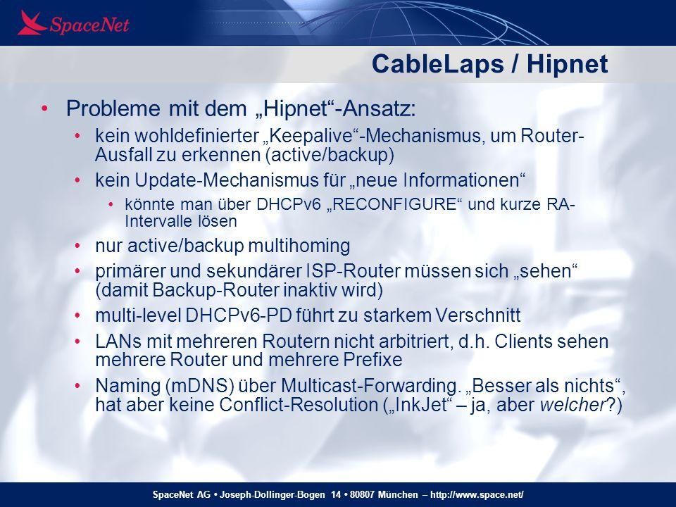 "CableLaps / Hipnet Probleme mit dem ""Hipnet -Ansatz:"