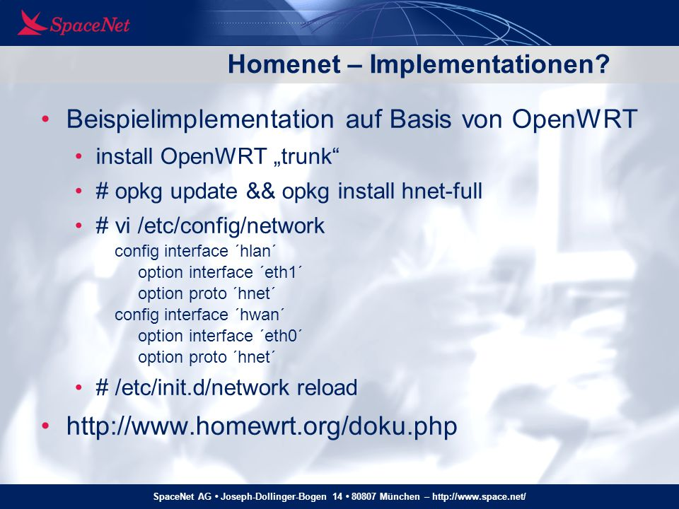 Homenet – Implementationen