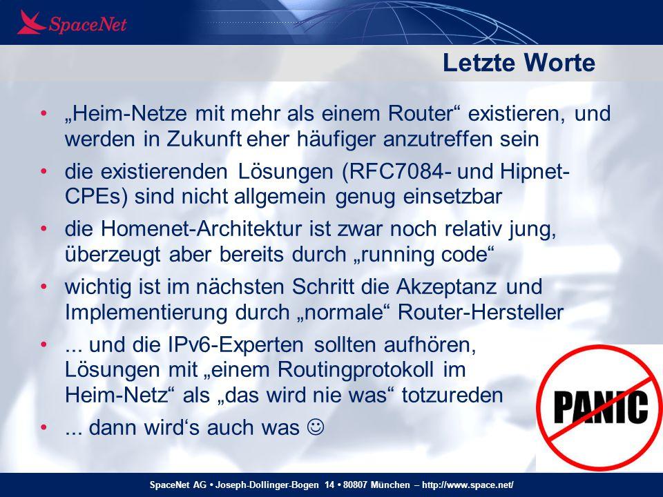 """Letzte Worte """"Heim-Netze mit mehr als einem Router existieren, und werden in Zukunft eher häufiger anzutreffen sein."""