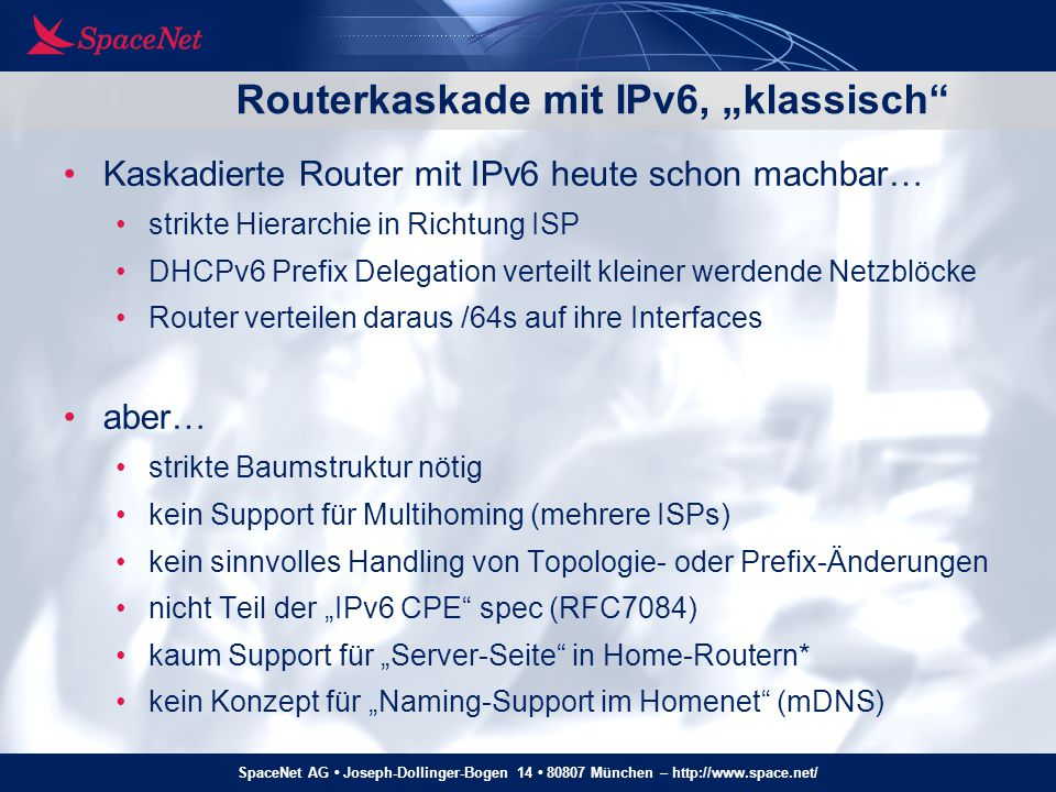 """Routerkaskade mit IPv6, """"klassisch"""