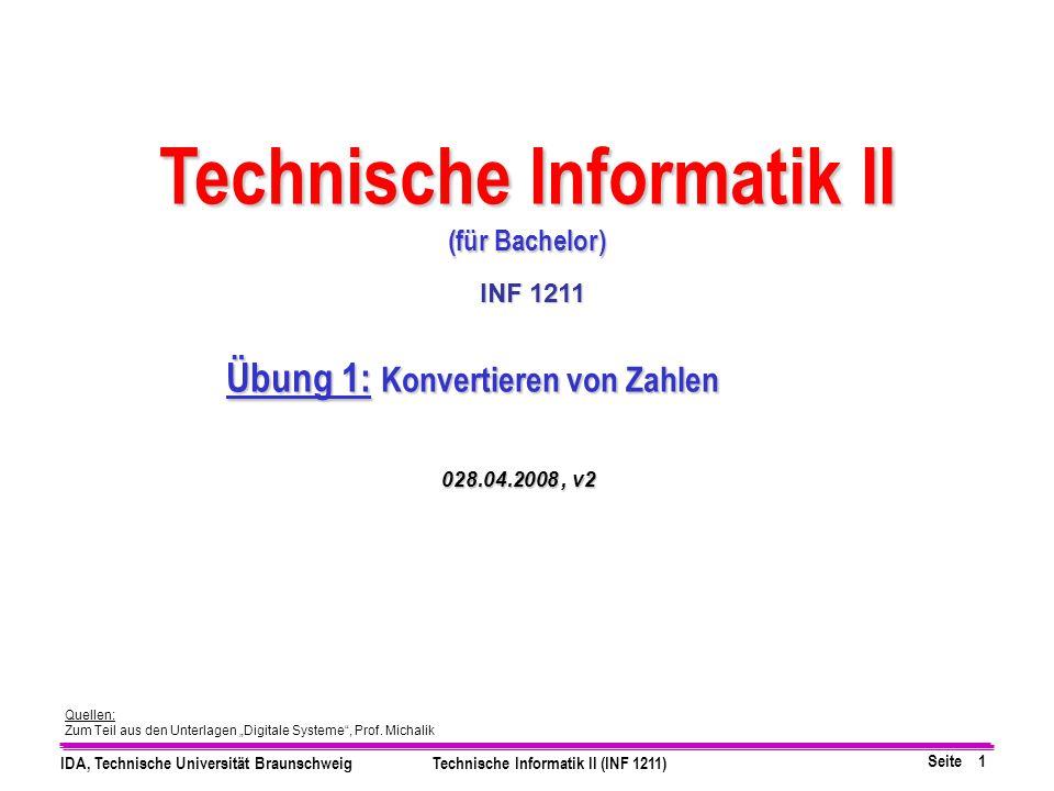 Technische Informatik II Übung 1: Konvertieren von Zahlen