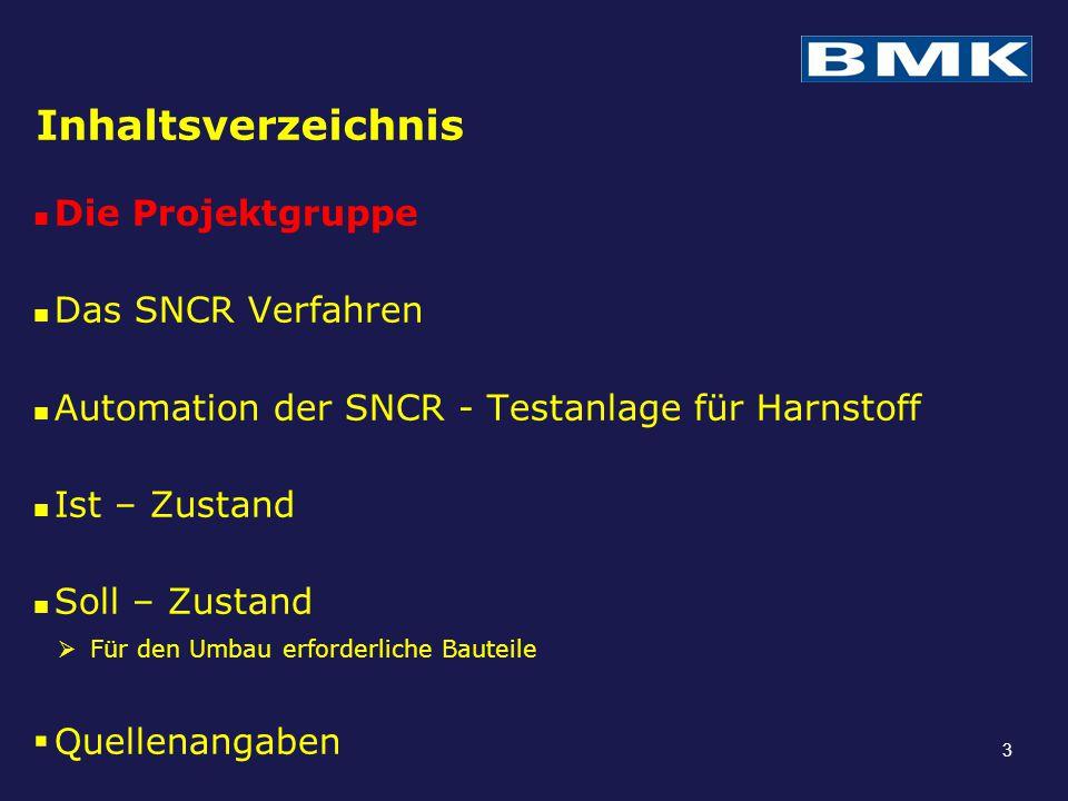 Inhaltsverzeichnis Die Projektgruppe Das SNCR Verfahren