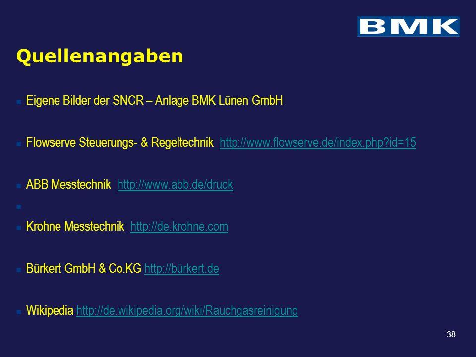 Quellenangaben Eigene Bilder der SNCR – Anlage BMK Lünen GmbH