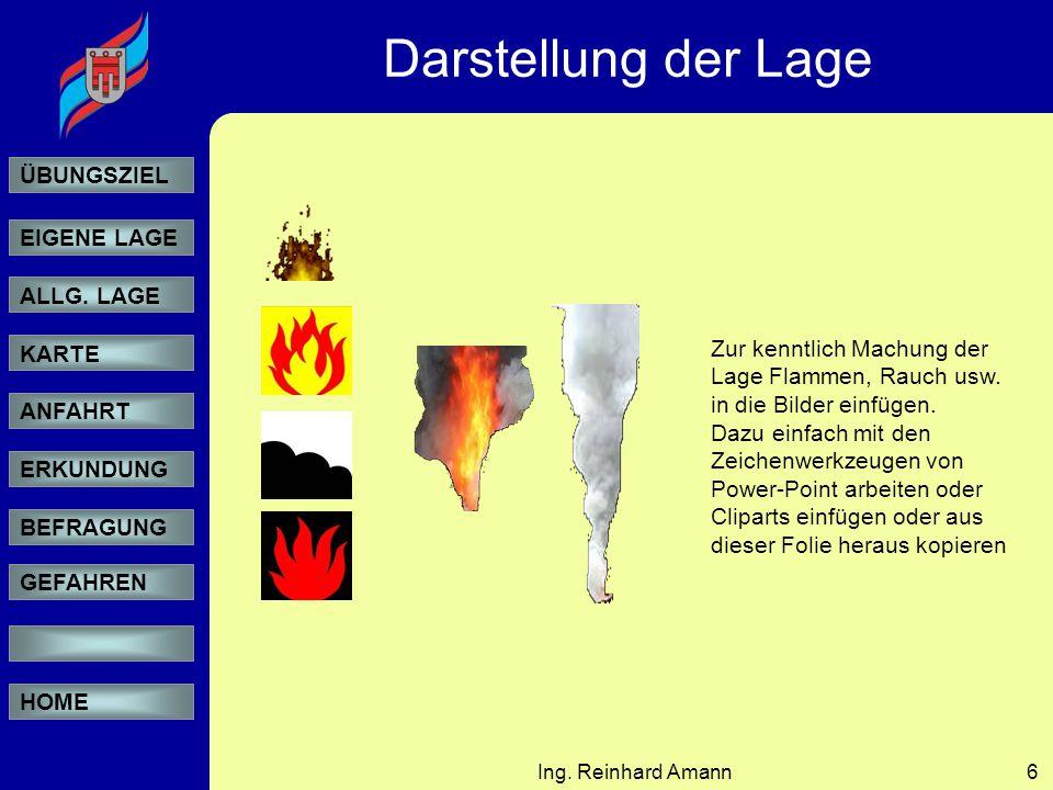 Darstellung der Lage Zur kenntlich Machung der Lage Flammen, Rauch usw. in die Bilder einfügen.
