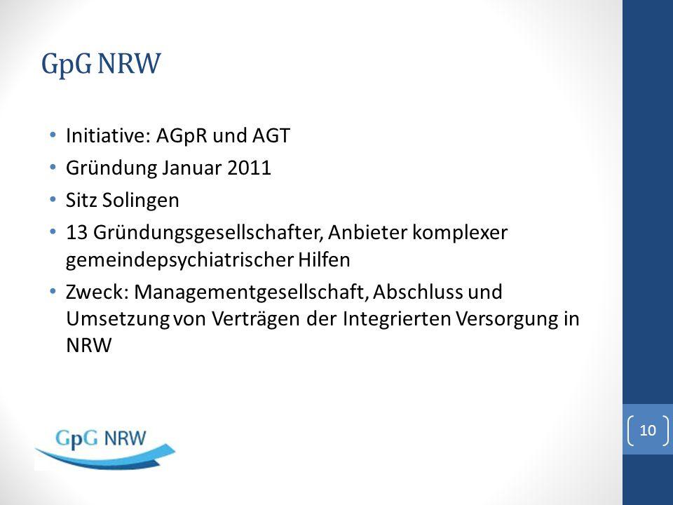 GpG NRW Initiative: AGpR und AGT Gründung Januar 2011 Sitz Solingen