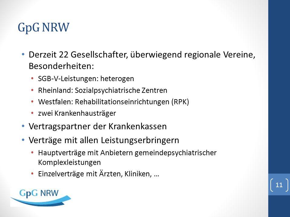 GpG NRW Derzeit 22 Gesellschafter, überwiegend regionale Vereine, Besonderheiten: SGB-V-Leistungen: heterogen.