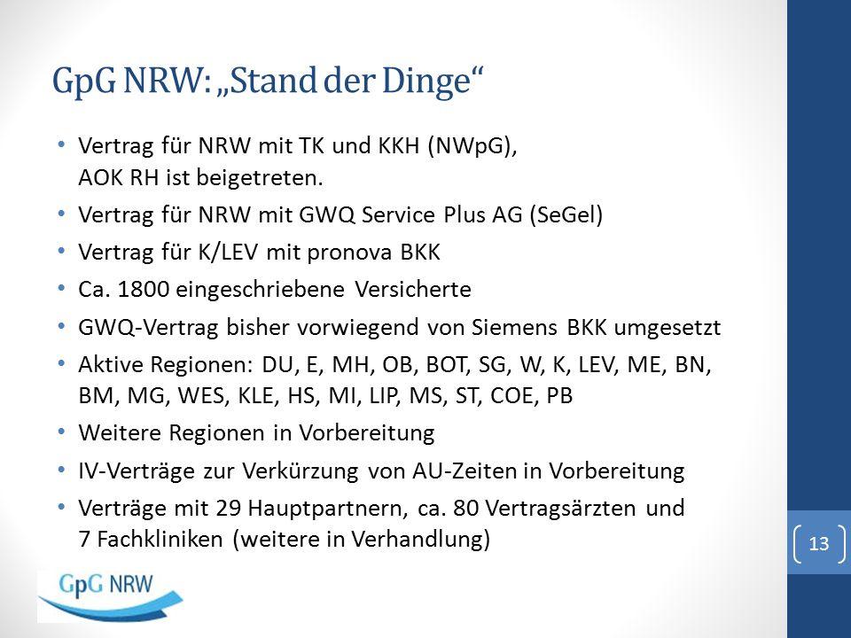 """GpG NRW: """"Stand der Dinge"""